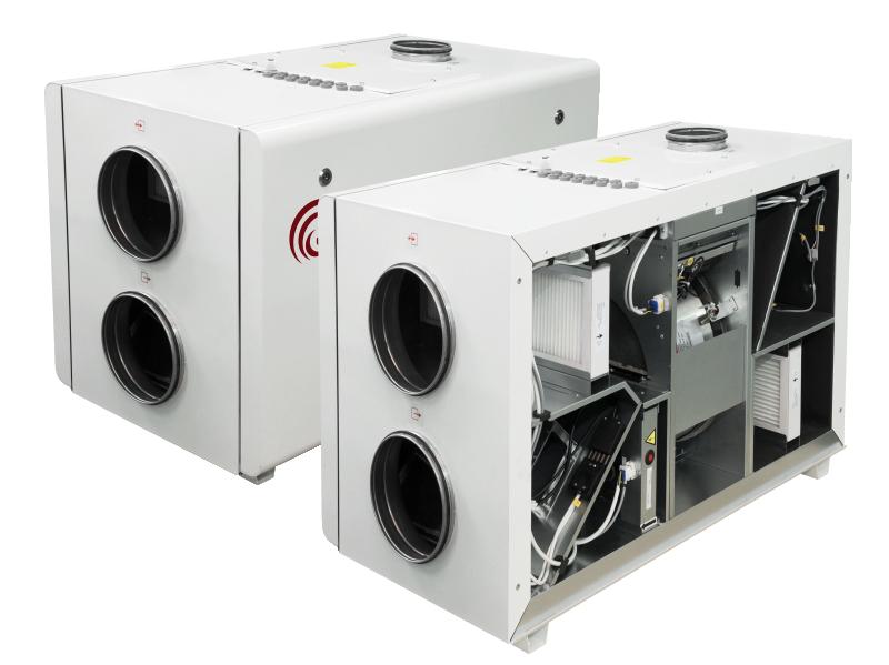Компактные приточно-вытяжные установки с роторным рекуператором и интегрированной СУ (гор. исполнение) RIRS H EKO 3.0