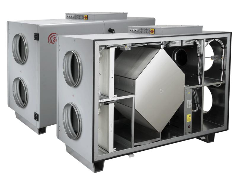 Компактные приточно-вытяжные установки с пластинчатым рекуператором (горизонтальное исполнение) RIS H EKO 3.0