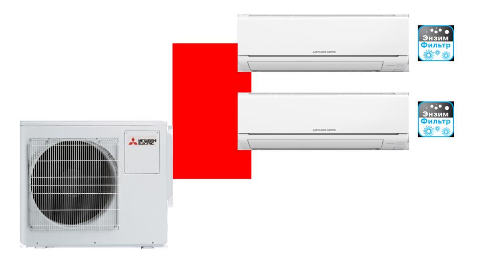 Мульти сплит-система MSZ-HJ25VA ER1+MSZ-HJ35VA ER1+MXZ-3HJ50VA ER1